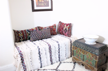 Moroccan Vintage Wedding Blanket Handira Berber Throw Wool & Sequins 190cm x 115cm - 6.2 x 3.8ft. H6
